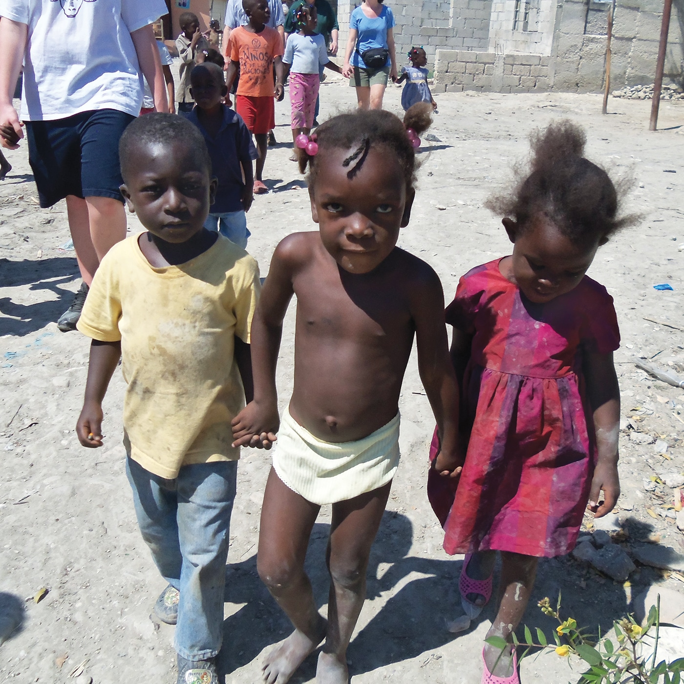 Three children walking