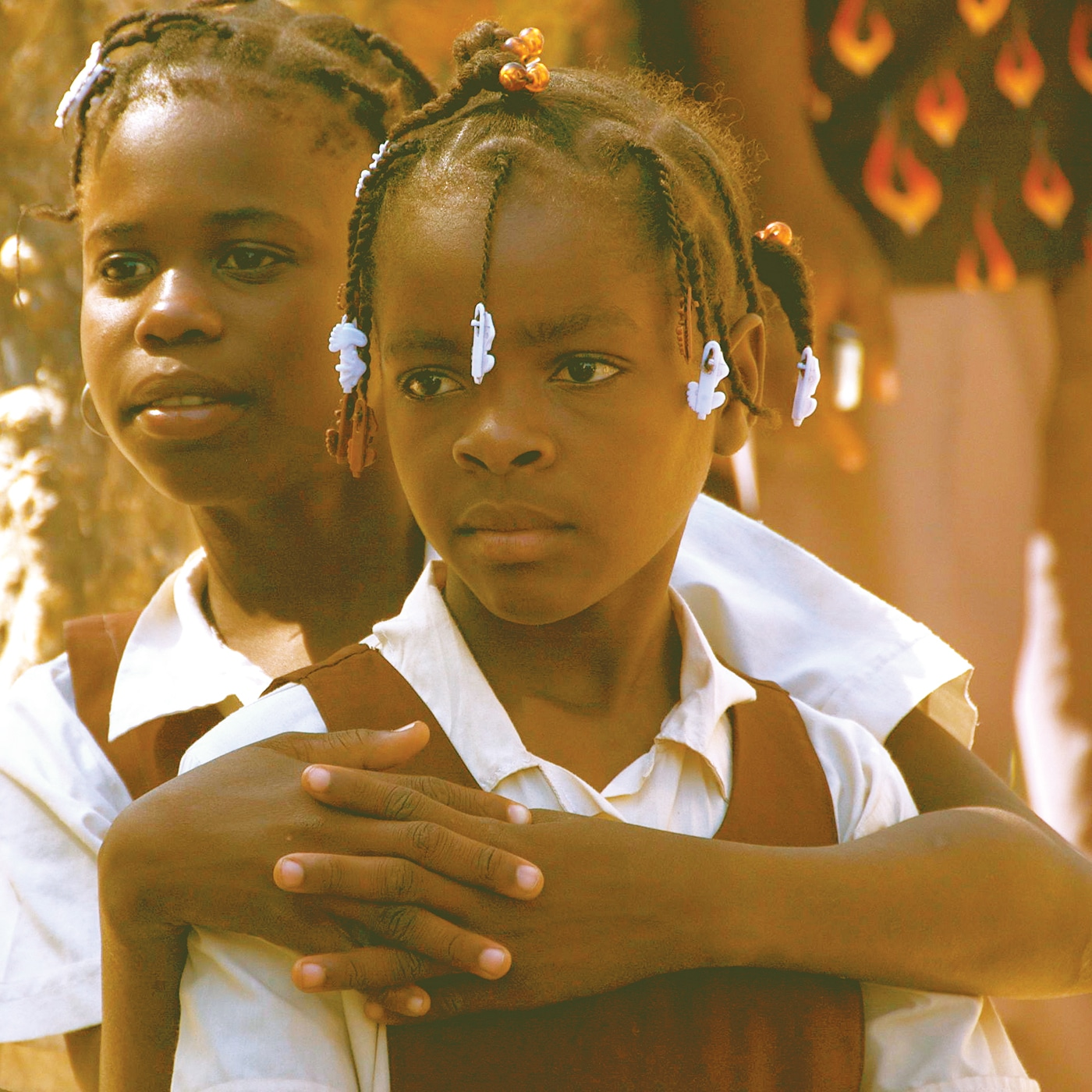 Two girls in school uniform in Anse A Pitre